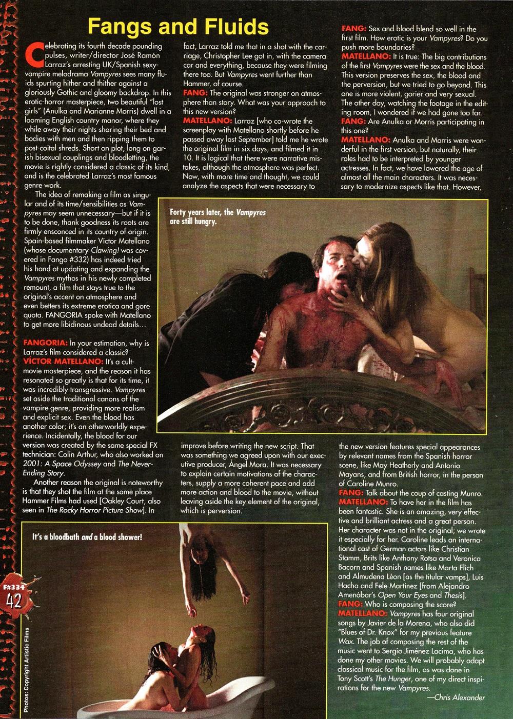 """""""Vampyres"""". Fangoria #334. July 2014."""