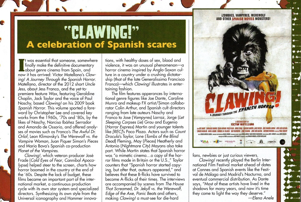 """""""Clawing!"""". Fangoria #332. May 2014."""